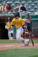 Michael Stefanic (5) of the Salt Lake Bees at bat against the Las Vegas Aviators at Smith's Ballpark on June 27, 2021 in Salt Lake City, Utah. The Aviators defeated the Bees 5-3. (Stephen Smith/Four Seam Images)
