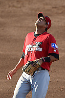 Frisco Rough Riders first baseman Guilder Rodriguez (6) tracks an infield pop up during a game against the Springfield Cardinals on June 1, 2014 at Hammons Field in Springfield, Missouri.  Springfield defeated Frisco 3-2.  (Mike Janes/Four Seam Images)