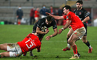 12 December 2020; Aaron Sexton of Ulster is tackled by Alan Flannery of Munster during the A series inter-pros series 20-21 between Ulster A and Munster A at Kingspan Stadium, Ravenhill Park, Belfast, Northern Ireland. Photo by John Dickson/Dicksondigital