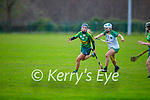 Kerry's Norete Casey tries to shake off the challege of Meaths Sinead Hackett in the Camogie Intermediate Championship