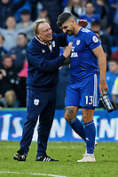 (L-R) Cardiff City manager Neil Warnock congratulates Callum Paterson of Cardiff City after the Premier League match between Cardiff City and Fulham FC at the Cardiff City Stadium, Wales, UK. Saturday 20 October 2018