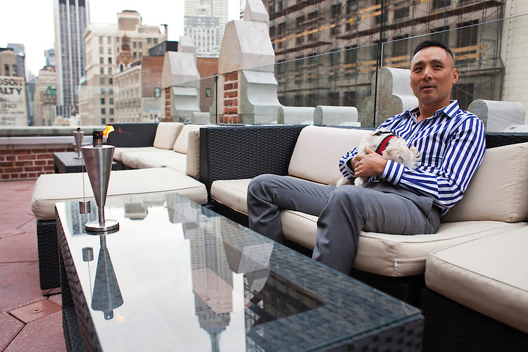 """Robert """"Toshi"""" Chan, is the owner of the Flatiron Hotel in New York City, located in the North of Madison Square Park area. His new and exclusive rooftop bar (to be called Toshi's Penthouse) will host parties overlooking views of the Empire State Building and the east and south, and will open in May 2013...There is a restaurant/bar boom happening on 26th Street between Broadway and 7th Avenue in Manhattan. About six new places have opened up in the last 8 months. This area of development is called NoMad (north of Madison Sq. Park)...Photographed on 4/23/13 by Mark Abramson for The Wall Street Journal."""