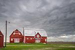 Bureau County,Illinois:<br /> Unusual double barn under a stormy sky