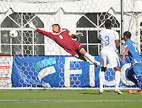 Honduras goalkeeper Noel Valladares (18) dives to make a save. Honduras National Team defeated El Salvador 3-0 at RFK stadium, Saturday June 2, 2012.