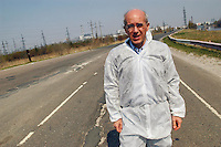- Vittorio Agnoletto, European parliamentarian and no global leader, in front of Chernobyl nuclear power station ....- Vittorio Agnoletto, parlamentare europeo e leader no global, davanti alla centrale nucleare di Chernobyl