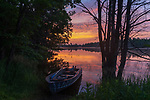 A fishing boat on the shore of a wilderness lake in northern Wisconsin.