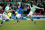 St Johnstone v Celtic…..01.03.20   McDiarmid Park   Scottish Cup Quarter Final<br />Drey Wright is closed down by Ryan Christie<br />Picture by Graeme Hart.<br />Copyright Perthshire Picture Agency<br />Tel: 01738 623350  Mobile: 07990 594431
