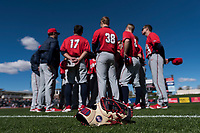 The Gonzaga Bulldogs huddle before a game against the Oregon State Beavers on February 16, 2019 at Surprise Stadium in Surprise, Arizona. Oregon State defeated Gonzaga 9-3. (Zachary Lucy/Four Seam Images)