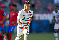 CARSON, CA - FEBRUARY 1: Ulysses Llanez Jr #19 of the United States takes a PK and scores during a game between Costa Rica and USMNT at Dignity Health Sports Park on February 1, 2020 in Carson, California.