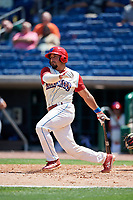 Clearwater Threshers catcher Edgar Cabral (30) follows through on a swing during a game against the Jupiter Hammerheads on April 11, 2018 at Spectrum Field in Clearwater, Florida.  Jupiter defeated Clearwater 6-4.  (Mike Janes/Four Seam Images)