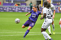 Stefania Vatafu (10) of Anderlecht pictured shooting towards goal during a female soccer game between RSC Anderlecht Dames and Sporting Charleroi  on the second matchday of the 2021 - 2022 season of Belgian Womens Super League , saturday 28 th of August 2021  in Brussels , Belgium . PHOTO SPORTPIX   DAVID CATRY