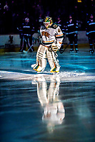21 November 2017: University of Vermont Catamount goaltender Stefanos Lekkas is introduced as starting goalie against the University of Connecticut Huskies at Gutterson Fieldhouse in Burlington, Vermont. The Huskies defeated the Catamounts 4-1 in Hockey East play. Mandatory Credit: Ed Wolfstein Photo *** RAW (NEF) Image File Available ***