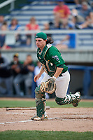 Beloit Snappers catcher Jordan Devencenzi (18) tracks down a loose ball during a game against the Dayton Dragons on July 22, 2018 at Pohlman Field in Beloit, Wisconsin.  Dayton defeated Beloit 2-1.  (Mike Janes/Four Seam Images)