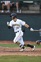 Bristol Pirates Brendt Citta (34) bats during the game with the Burlington Royals at Boyce Cox Field on June 19, 2019 in Bristol, Virginia. The Royals defeated the Pirates 1-0. (Tracy Proffitt/Four Seam Images)