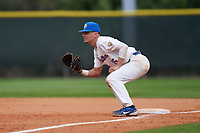 Pitt Panthers first baseman Bryce Hulett (15) holds a runner on during the teams opening game of the season against the Indiana State Sycamores on February 19, 2021 at North Charlotte Regional Park in Port Charlotte, Florida.  (Mike Janes/Four Seam Images)