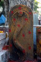 Indien, Mahabalipuram (Tamil Nadu), heilige Kobra am Straßenrand