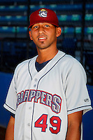 Mahoning Valley Scrappers pitcher Ramon Cespedes #47 poses for a photo before a game against the Jamestown Jammers at Russell E. Diethrick Jr Park on September 2, 2011 in Jamestown, New York.  Mahoning Valley defeated Jamestown 8-4.  (Mike Janes/Four Seam Images)