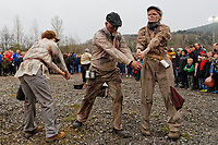Pictured: Actors during The Man Engine show at the Copper Works in Morfa, Swansea, Wales, UK. Thursday 12 April 2018<br /> Re: The largest mechanical puppet in Britain starts its tour across south Wales.<br /> Man Engine, a mechanical miner which measures 36ft (11m) tall, has appeared at the Waterfront Museum and the former Copper Works in Swansea, Wales, animated by a dozen handlers.<br /> The giant is visiting areas linked to the nation's industrial past.