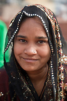 Agra, India.  Young Indian Muslim Woman at the Jama Masjid, the Friday Mosque.  Note nose-pin.