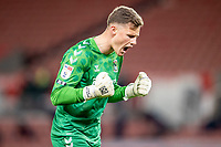 21st April 2021; Bet365 Stadium, Stoke, Staffordshire, England; English Football League Championship Football, Stoke City versus Coventry; Goalkeeper Ben Wilson of Coventry City celebrates their win at the final whistle