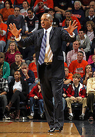 Jan. 2, 2011; Charlottesville, VA, USA; LSU Tigers head coach Trent Johnson reacts to a call during the game against the Virginia Cavaliers at the John Paul Jones Arena. Virginia won 64-50. Mandatory Credit: Andrew Shurtleff-