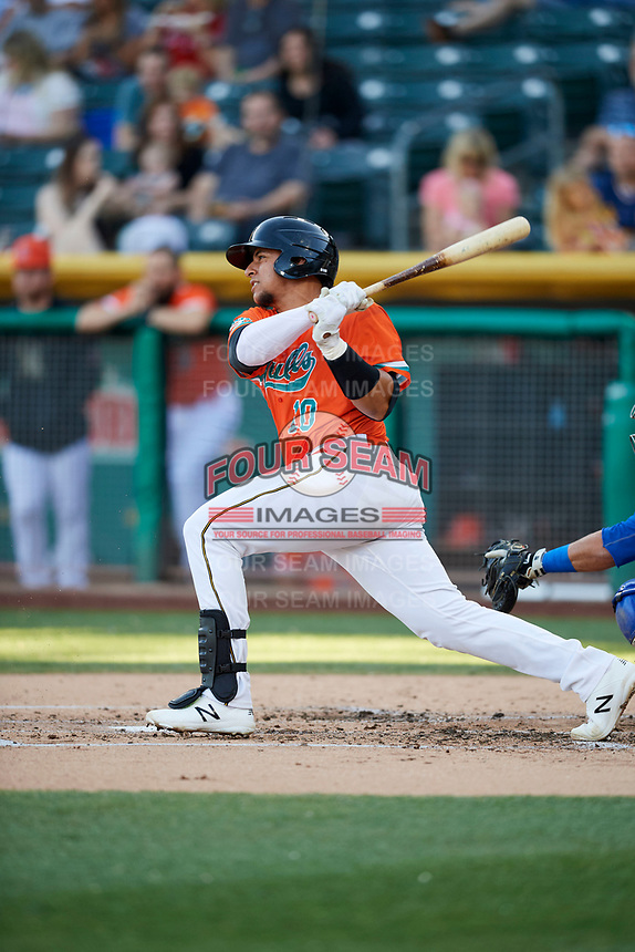 Jose Briceno (10) of the Salt Lake Bees bats against the Las Vegas 51s at Smith's Ballpark on May 7, 2018 in Salt Lake City, Utah. The 51s defeated the Bees 10-8. (Stephen Smith/Four Seam Images)
