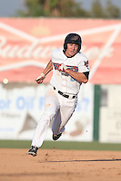 Chad Hinshaw #6 of the Inland Empire 66ers runs the bases during a game against the Bakersfield Blaze at San Manuel Stadium on August 21, 2014 in San Bernardino, California. Inland Empire defeated Bakersfield, 3-1. (Larry Goren/Four Seam Images)