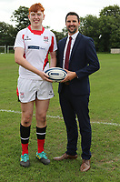 Ulster Rugby Schools 2018-2019<br /> <br /> St Colmans player Matthew Sands with Danske Bank representative Ian Russell.<br /> <br /> Photo by John Dickson / DICKSONDIGITAL
