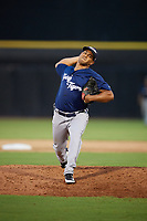 Lakeland Flying Tigers relief pitcher Wladimir Pinto (40) delivers a pitch during a game against the Dunedin Blue Jays on July 31, 2018 at Dunedin Stadium in Dunedin, Florida.  Dunedin defeated Lakeland 8-0.  (Mike Janes/Four Seam Images)