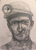 BNPS.co.uk (01202 558833)<br /> Pic: SimoneGreenfield/BNPS<br /> <br /> Video download link: https://we.tl/t-bJLf5479nt<br /> <br /> Pictured: 'Coal Miner'.<br /> <br /> A nine-year-old artist described as an 'outstanding' talent will have his work exhibited by the Royal Academy.<br /> <br /> Lucas Greenfield began drawing life-like portraits of his favourite footballers during the first lockdown.<br /> <br /> His parents were amazed by the sudden out-pour of work which followed, including pictures of pets commissioned and paid for by his teachers.