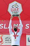 Tadej Pogacar (SLO) UAE Team Emirates takes the overall victory and the young riders White Jersey classification at the end of Stage 7 of the 2021 UAE Tour running 165km from Yas Island to Abu Dhabi Breakwater, Abu Dhabi, UAE. 27th February 2021.<br /> Picture: LaPresse/Gian Mattia D'Alberto   Cyclefile<br /> <br /> All photos usage must carry mandatory copyright credit (© Cyclefile   LaPresse/Gian Mattia D'Alberto)