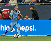FOXBOROUGH, MA - SEPTEMBER 29: Maximiliano Moralez #10 of New York City FC dribbles down the wing during a game between New York City FC and New England Revolution at Gillette Stadium on September 29, 2019 in Foxborough, Massachusetts.