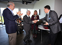 Pictured: Steve Kaplan (L) and Jason Levien (R) give an award Tuesday 04 April 2017<br />Re: Official opening of the Fairwood Training Complex of Swansea City FC, Wales, UK