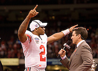 Terrelle Pryor of Ohio State receives Sugar Bowl MVP after defeating Arkansas during 77th Annual Allstate Sugar Bowl Classic at Louisiana Superdome in New Orleans, Louisiana on January 4th, 2011.  Ohio State defeated Arkansas, 31-26.