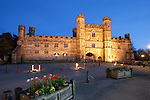 Great Britain, England, East Sussex, Battle: Nightshot of Battle Abbey or St. Martin's Abbey of the Place of Battle, built on site of the Battle of Hastings in 1066 by William the Conqueror