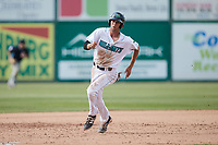 Micah Pries (37) of the Lynchburg Hillcats hustles towards third base against the Myrtle Beach Pelicans at Bank of the James Stadium on May 23, 2021 in Lynchburg, Virginia. (Brian Westerholt/Four Seam Images)