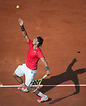 Rafael Nadal (ESP) wins in first round play at Roland Garros in Paris, France on May 29, 2012