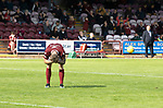 Arbroath v St Johnstone…15.08.21  Gayfield Park      Premier Sports Cup<br />Ricky Little reacts after mssing his penalty kick<br />Picture by Graeme Hart.<br />Copyright Perthshire Picture Agency<br />Tel: 01738 623350  Mobile: 07990 594431