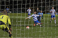 Marcus Edwards of Tottenham Hotspur U21 beats defender Shane Griffin of Reading U21 to make a shot at goal during the Barclays U21 Premier League match between Reading U21 and Spurs U21 at Adams Park, High Wycombe, England on 3 March 2016. Photo by Kevin Prescod.