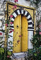 Tunisia, Sidi Bou Said.  Yellow Doorway Entrance to a Private Home.