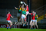 William Shine, Kerry Cian McMahon, Kerry in action against Daragh Murray, Cork during the Munster Minor Semi-Final between Kerry and Cork in Austin Stack Park on Tuesday evening.