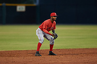 AZL Angels shortstop Kendy Moya (3) during a game against the AZL Giants Orange at Giants Baseball Complex on June 17, 2019 in Scottsdale, Arizona. AZL Giants Orange defeated AZL Angels 8-4. (Zachary Lucy/Four Seam Images)