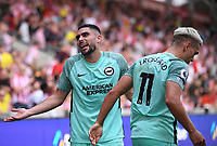 11th September 2021; Brentford Community Stadium, London, England;  Premier League football, Brentford versus Brighton Athletic; Neal Maupay of Brighton reacts to fans comments