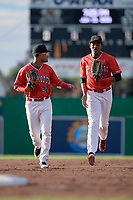Batavia Muckdogs center fielder Ricardo Cespedes (32) and right fielder Jerar Encarnacion (27) jog back to the dugout during a game against the West Virginia Black Bears on June 19, 2018 at Dwyer Stadium in Batavia, New York.  West Virginia defeated Batavia 7-6.  (Mike Janes/Four Seam Images)