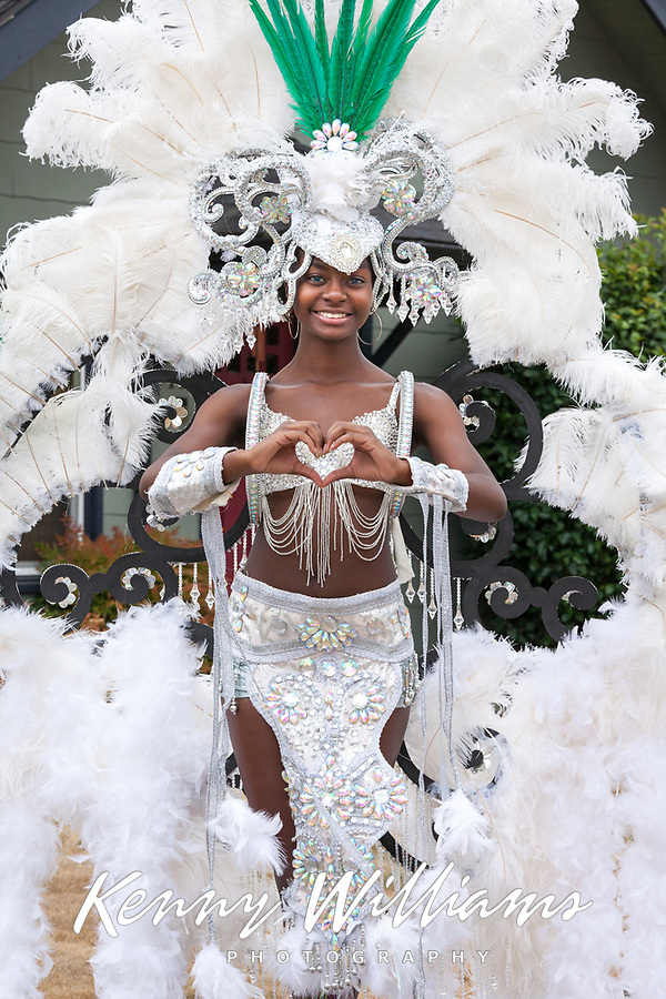Beautiful Graciela Wearing White Carnival Outfit, Panama Folklore, Auburn Days Parade & Festival, Auburn, WA, USA.