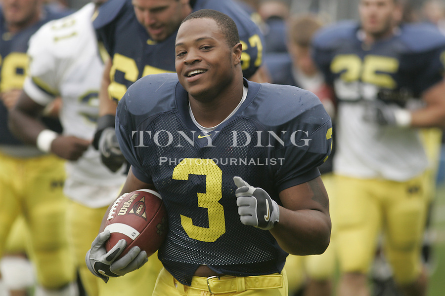 Michigan held an unprecedented fall pre-season open practice for the media at their practice facilities in Ann Arbor on Friday, August 19, 2005. (AP Photo/Tony Ding)