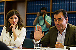 Yolanda Diaz of Unidos Podemos and Fernando Martinez Maillo of Partido Popular during the debate on agreements with representatives of the four major political forces at the headquarters of the newspaper La Razon . 19,06,2016. (ALTERPHOTOS/Rodrigo Jimenez)
