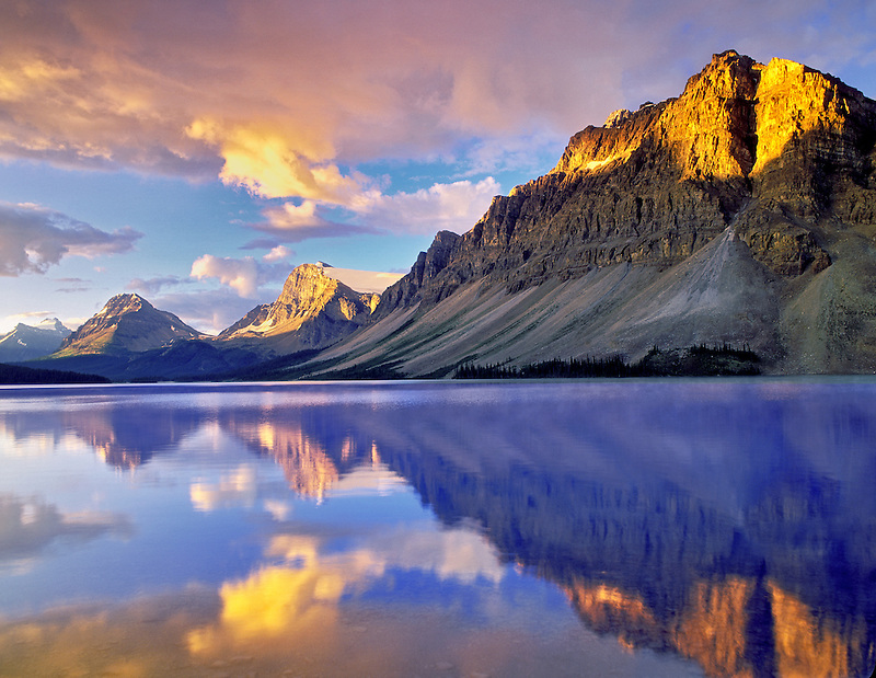 M00420M.tiff   Bow Lake mirror reflection with clouds and sunrise. Banff National Park, Alberta Canada