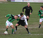 Rhyl 3 Aberystwyth Town 0, 13/01/20007. Belle Vue, Welsh Premier League. Midfield action as Rhyl take on Aberystwyth Town (green) in a Welsh Premier League match at Belle Vue, Rhyl. The home team won the game by 3 goals to nil, with all the goals coming in a wind-assisted second half. The victory took the north coast club to the top of the league. Photo by Colin McPherson.