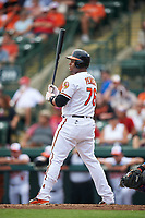 Baltimore Orioles catcher Audry Perez (76) at bat during a Spring Training exhibition game against the Dominican Republic on March 7, 2017 at Ed Smith Stadium in Sarasota, Florida.  Baltimore defeated the Dominican Republic 5-4.  (Mike Janes/Four Seam Images)